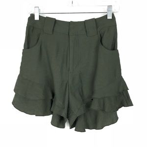Pants - Ruffle Hem Shorts Approx Sz 0 Green High Waisted